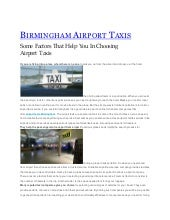 Some Factors That Help You In Choosing Airport Taxis