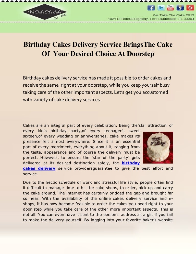 Birthday Cakes Delivery Service BringsThe Cake Of Your Desired Choice