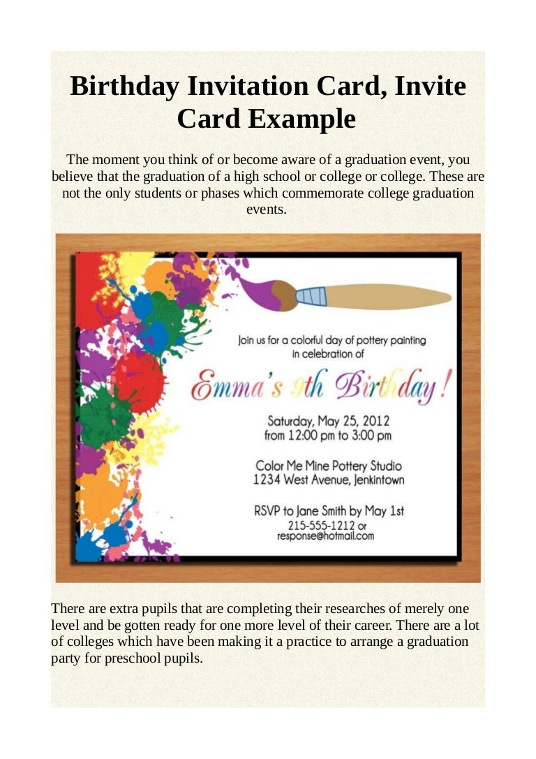 Birthday invitation card, invite card example