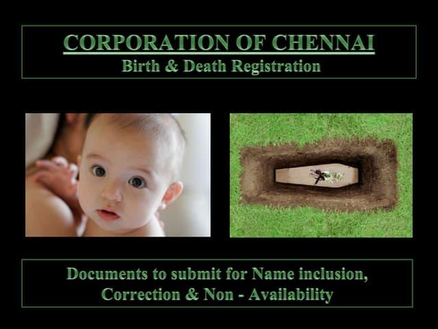 Birth & death   corporation of chennai
