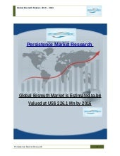 Global Bismuth Market is Estimated to be Valued at US$ 226.1 Mn by 2016