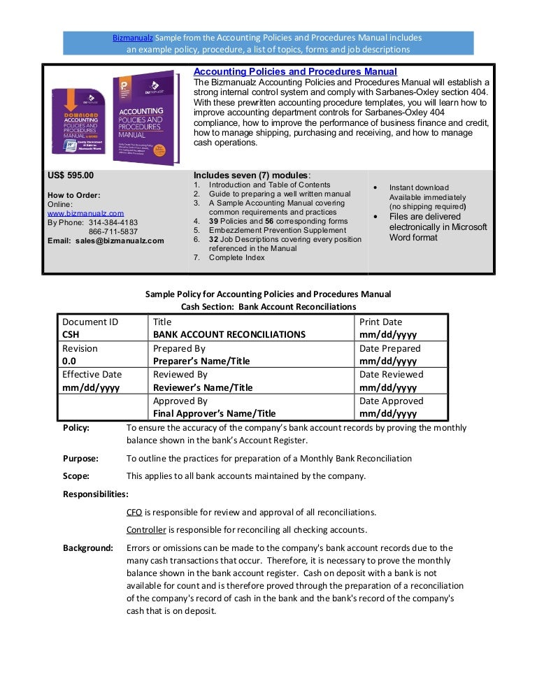 Employee Manual Template Free Sample. Bizmanualz Accounting Policies And  Procedures Sample