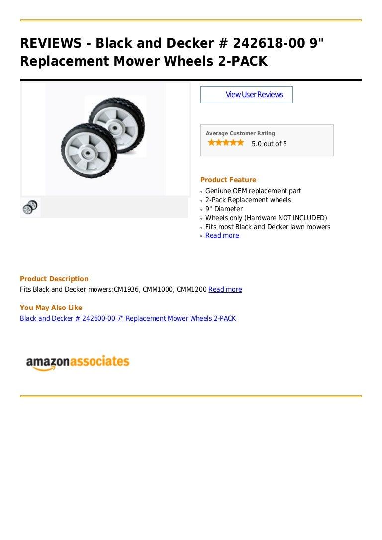 242618-00 2 Black /& Decker CMM1000 CMM1200 MowerMower Wheel