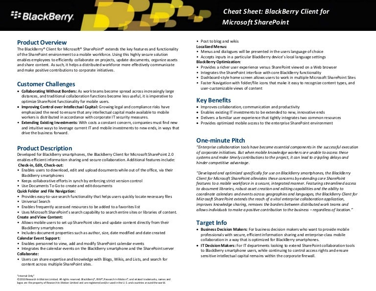 black berry client for share point 20 sales cheat sheet