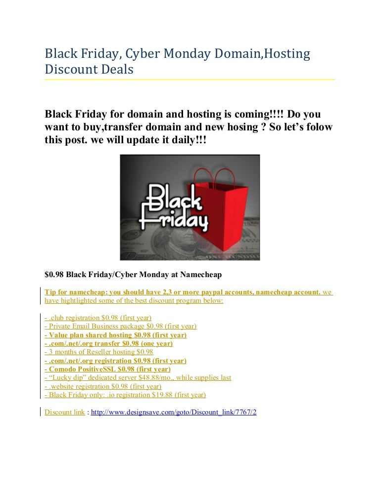 Black Friday Cyber Monday Domain Hosting Discount Deals 2014