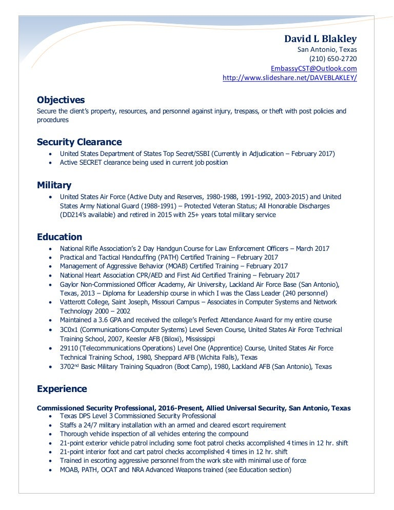 Blakley Security Officer Resume 2017
