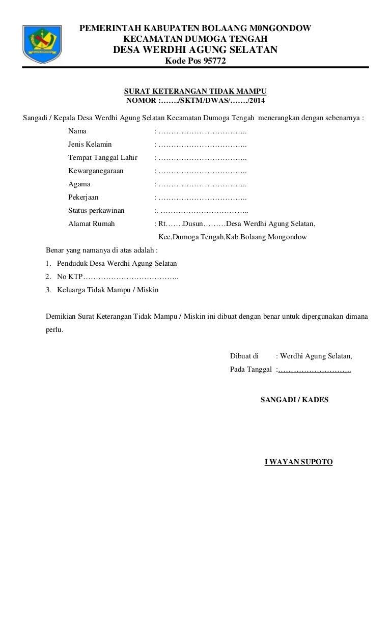 Surat Keterangan Tidak Mampu Dari Rt - Kumpulan Contoh Surat