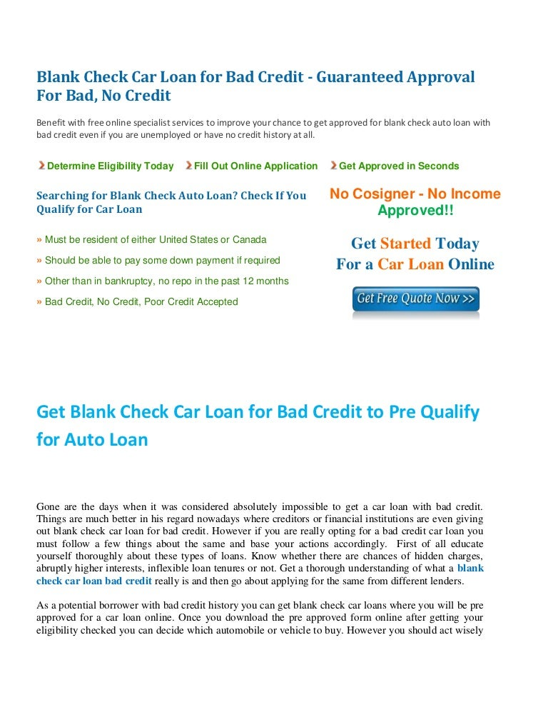 Blank Check Car Loan For Bad Credit Get Auto Loan With Blank Check