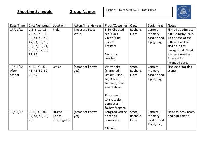 Blank shooting schedule