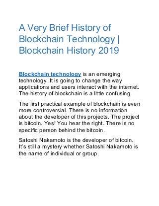 Blockchain history - The Brief History of Blockchain till 2018