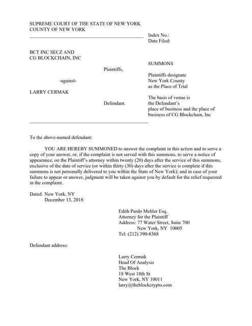 Blockchain Terminal summons and complaint