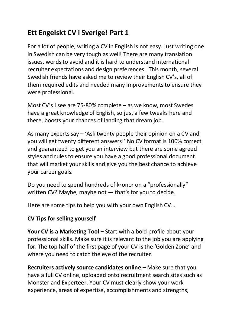 ett engelskt cv i sverige Helpful advice on writing an English CV