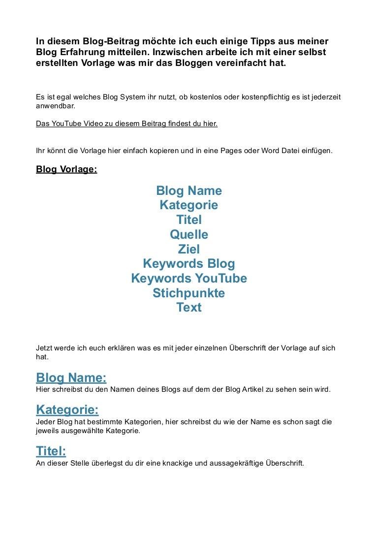 Blogging Vorlage - Meine Vorlage für einen guten Blog-Artikel!