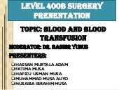 Blood and blood transfusion