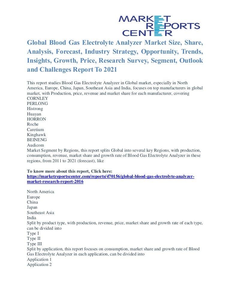 Blood Gas Electrolyte Analyzer Market Segmentation and