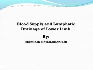 Blood Supply, Venous Drainage and Lymphatic Drainage of Lower Limb