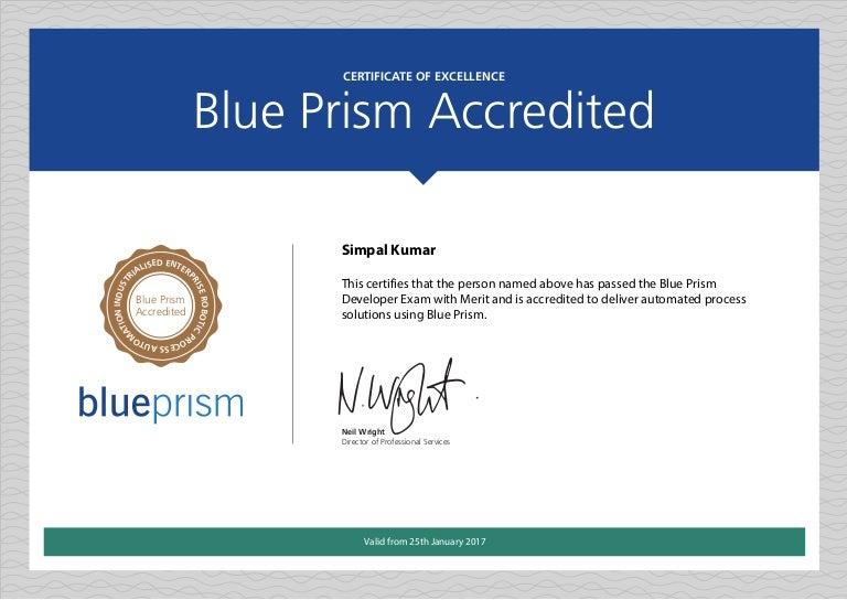 Blue Prism Certificate Simpal Kumar