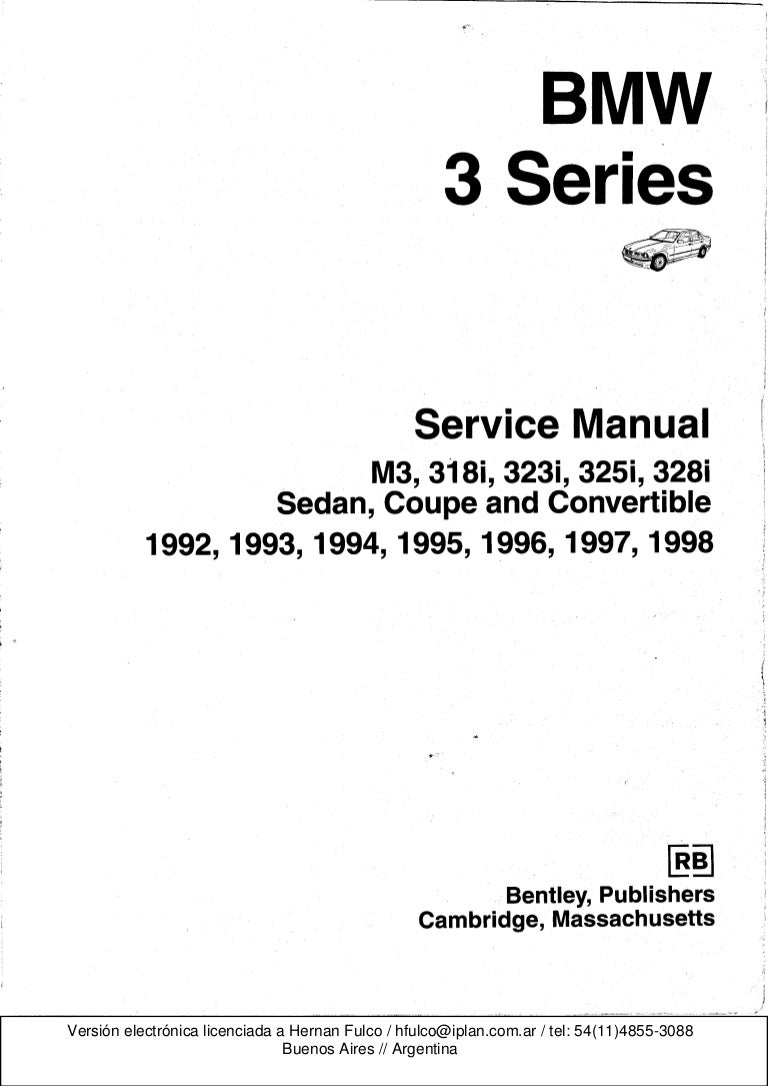 Bmw 3 E36 Series Workshop Manual Bentley Publishers 1998 Volvo 5 0 Gl Fuel Filter Location