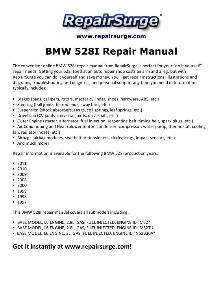 bmw 528i repair manual 1997 2011