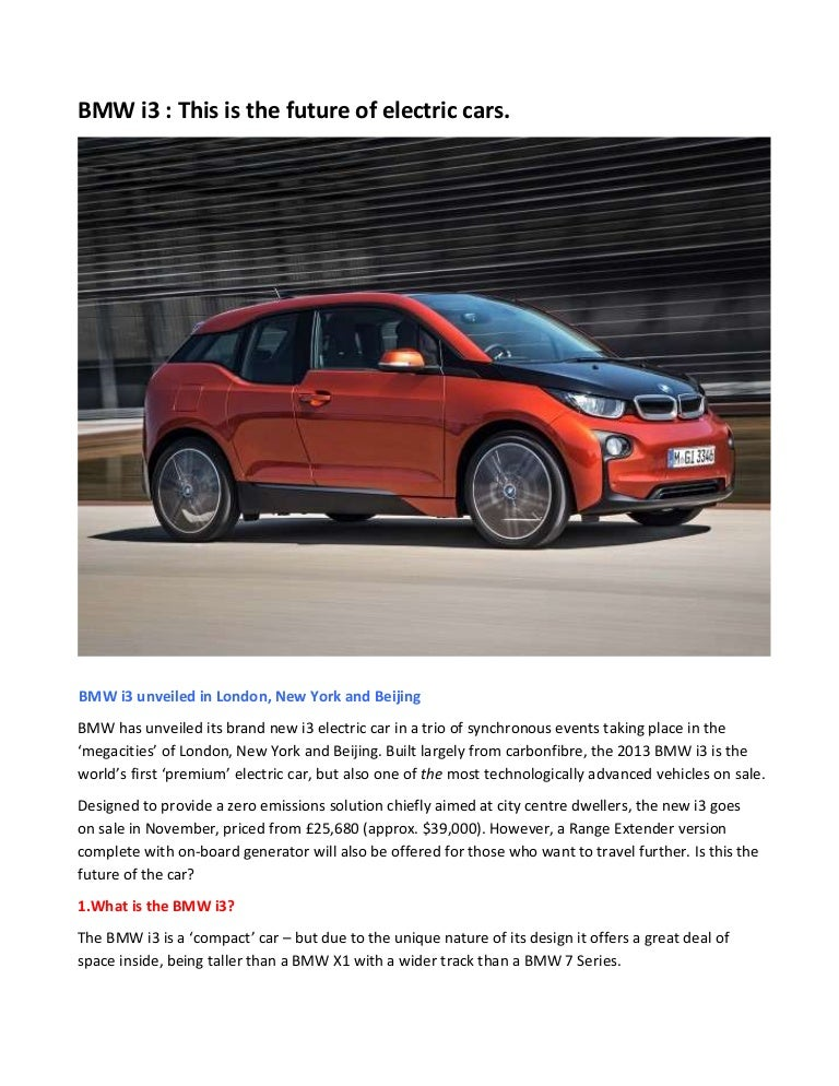 Bmw I3 This Is The Future Of Electric Cars