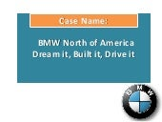 Bmw of north america: Dream it,built it,drive it
