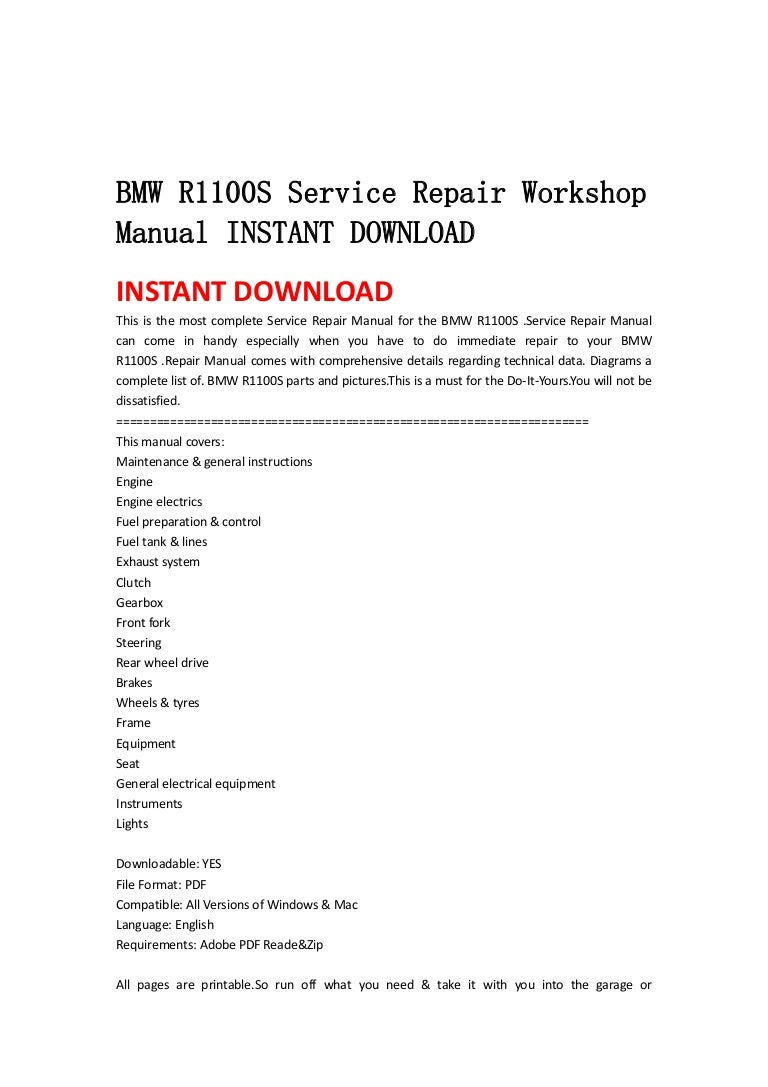 sainchargny.com BMW R1100S Owners Manual Service and Technical ...