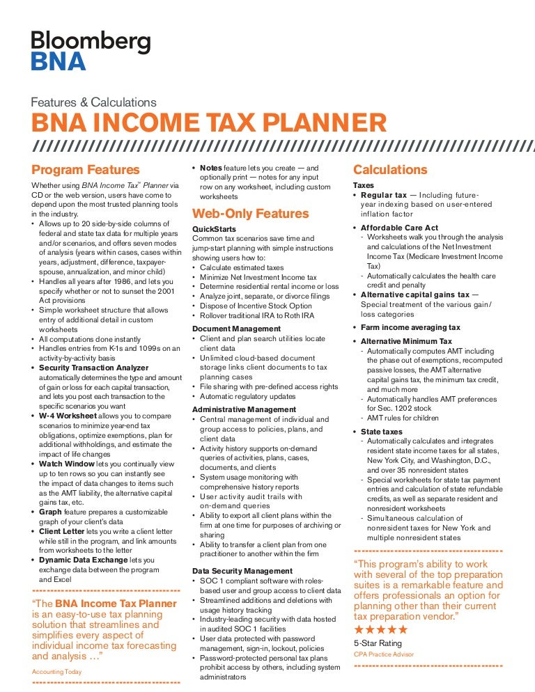 BNA Income Tax Planner Data Sheet