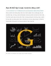 Bạn đã thiết lập google analytics đúng cách