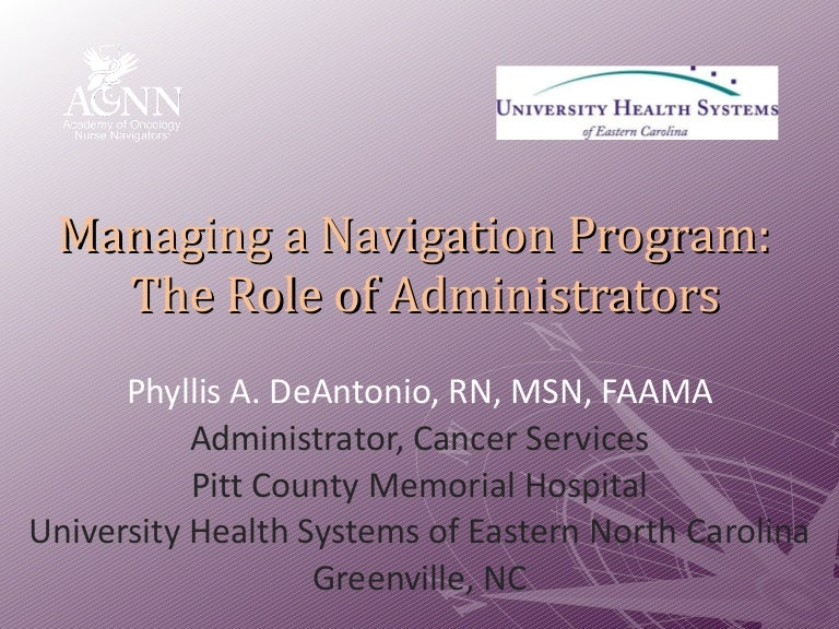 Managing a Navigation Program: The Role of Administrators