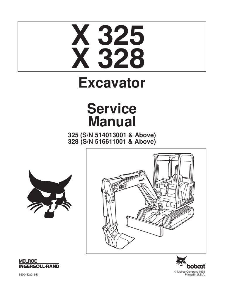 Bobcat 328 Compact Excavator Service Repair Manual Sn 516611001 Amp