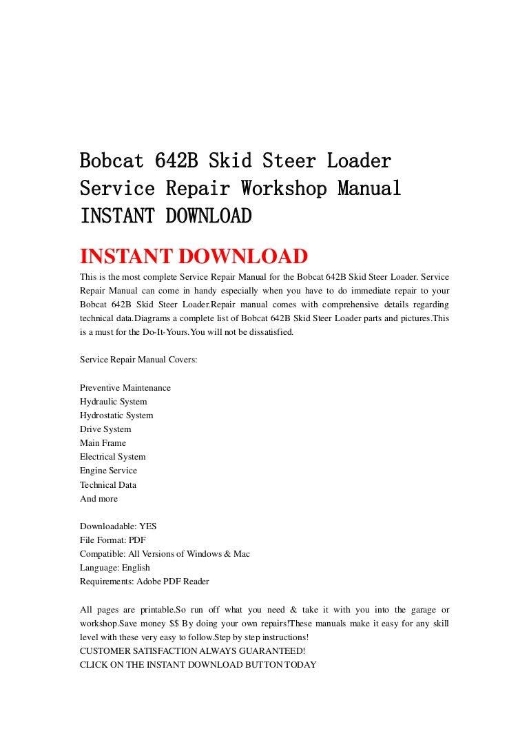 642 Bobcat Hydrostatic Wiring Diagram Skid Steer Loader Service Repair Workshop Manual Instant Download 768x1087