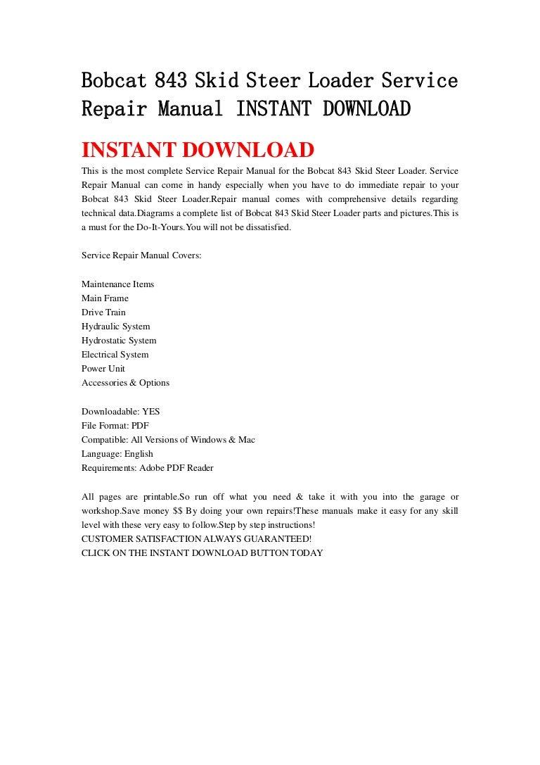 Bobcat 843 Parts Manual Wiring Diagram For Free Download Skid Steer Loader Service Repair Instant 768x1087