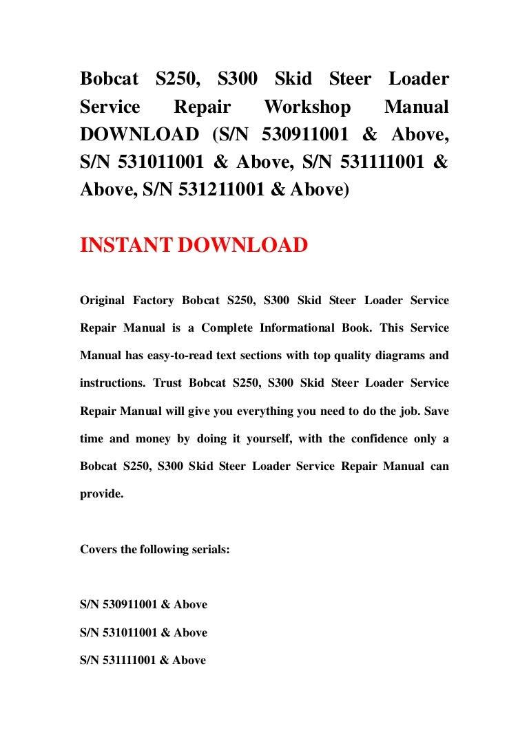 Bobcat s300 Operator Manual fastcat pro