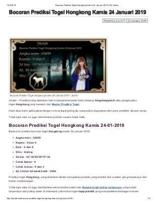 Bocoran prediksi togel hongkong kamis 24 januari 2019 hk kamis jitulah