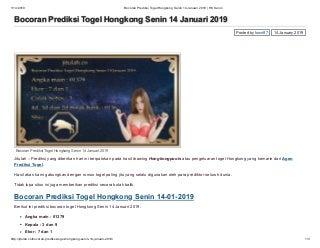 Bocoran prediksi togel hongkong senin 14 januari 2019 hk senin