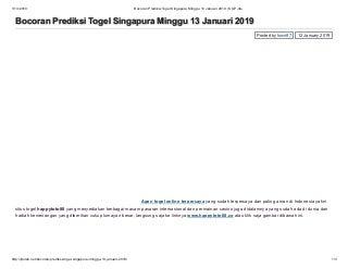 Bocoran prediksi togel singapura minggu 13 januari 2019 sgp jitu