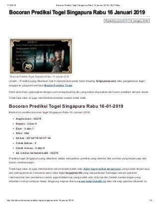 Bocoran prediksi togel singapura rabu 16 januari 2019 sgp rabu
