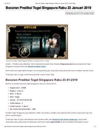 Bocoran prediksi togel singapura rabu 23 januari 2019 sgp rabu jitulah