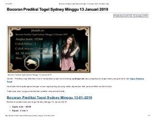 Bocoran prediksi togel sydney minggu 13 januari 2019 prediksi togel