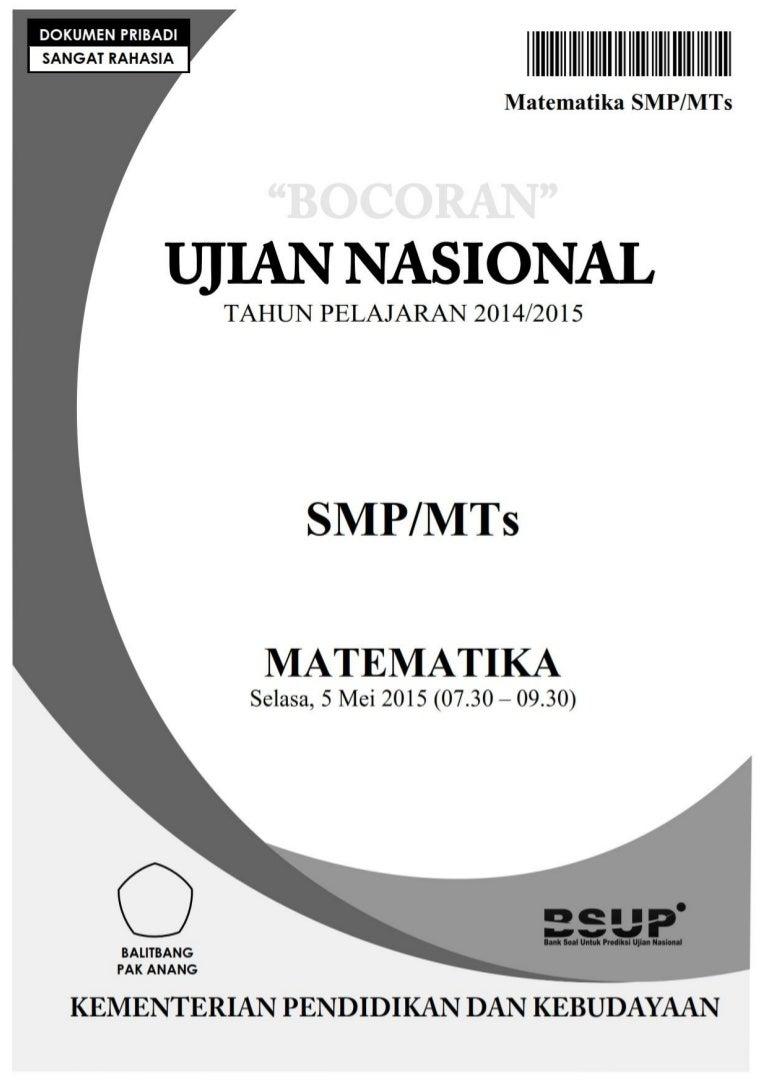 Contoh Soal Un Matematika Smp Tahun 2017