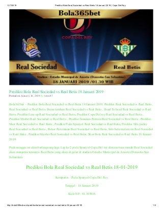 Bola365bet prediksi bola real sociedad vs real betis 18 januari 2019 copa del rey