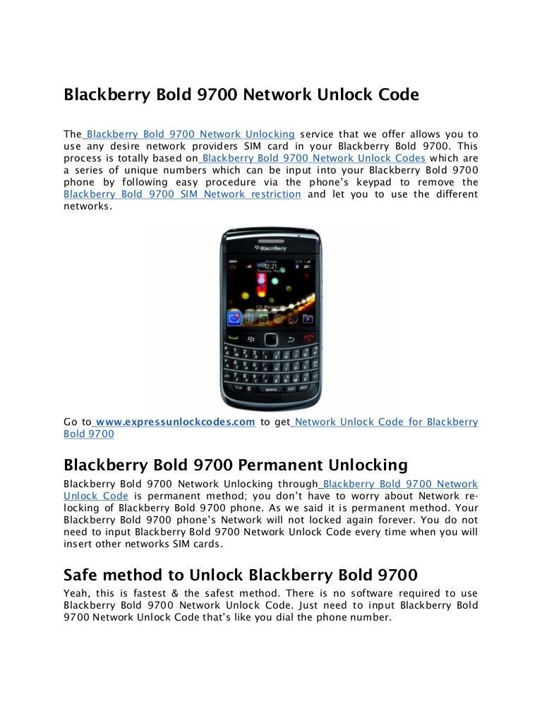 Blackberry Bold 9700 Network Unlock Code