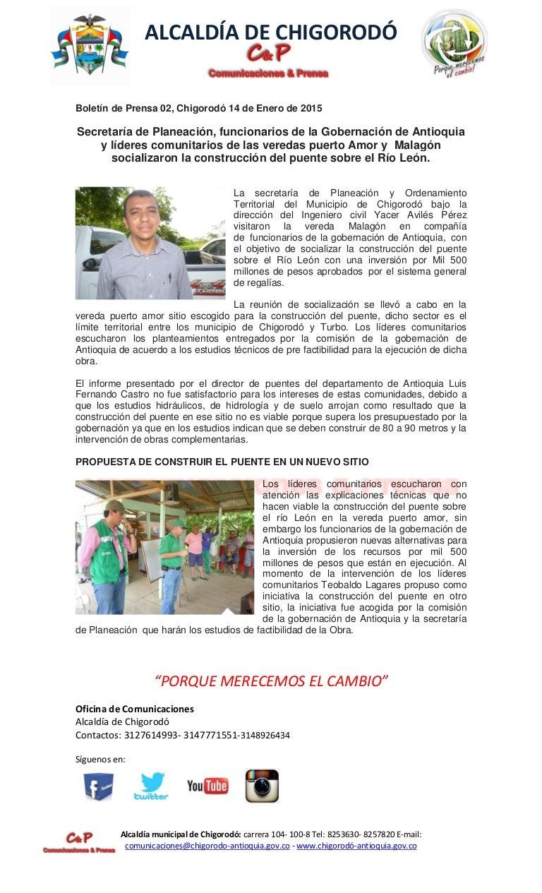 BOLETÍN DE PRENSA ALCALDÍA DE CHIGORODÓ, SECRETARÍA DE PLANEACIÓN Y C…