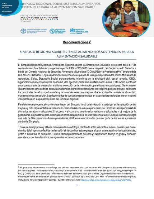 Resumen recomendaciones Simposio Regional sobre Sistemas Alimentarios Sostenibles para la Alimentación Saludable