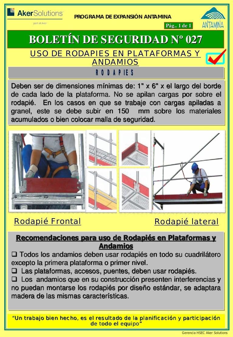 Boletin hsec 027 uso de los rodapies en las plataformas y andamios