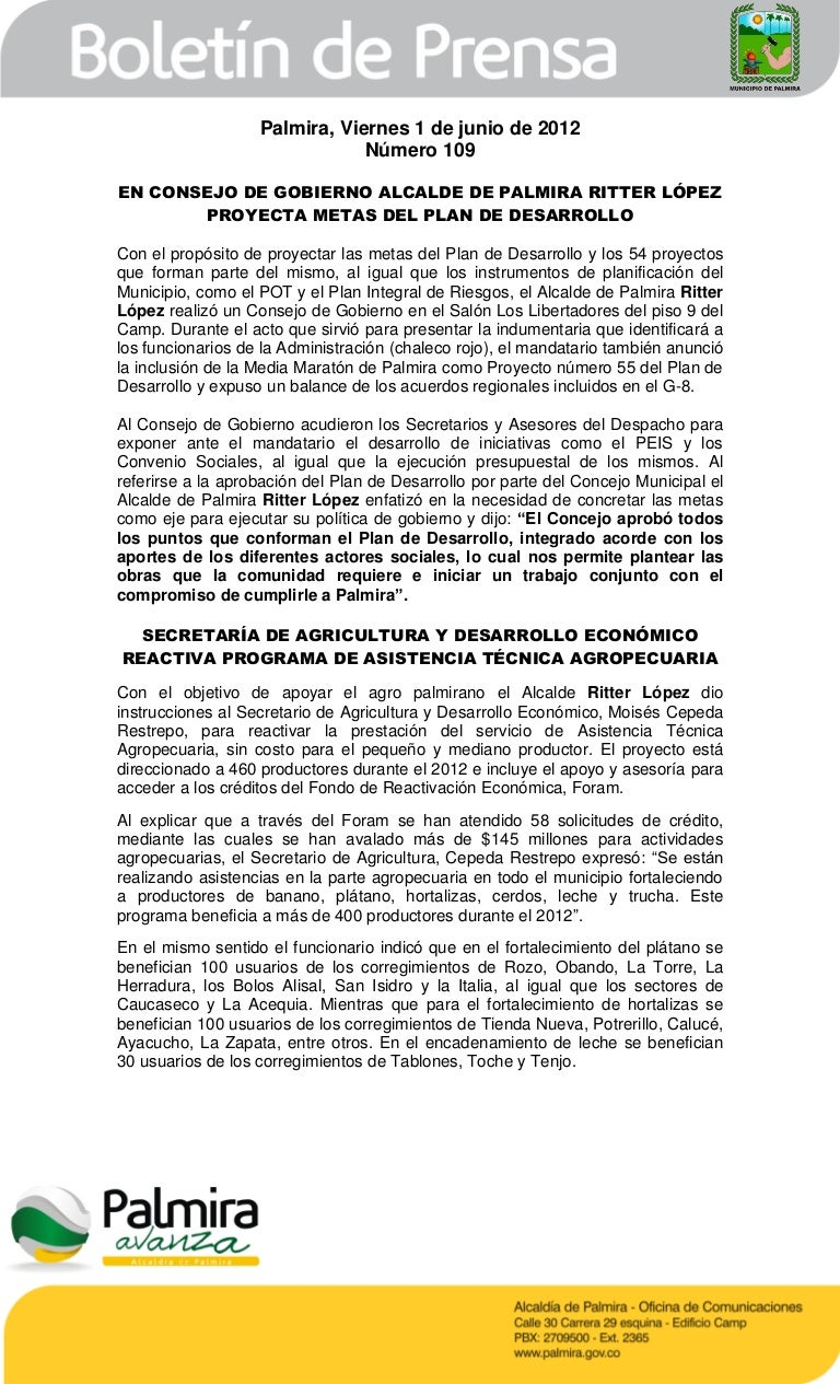 Boletin de la Alcaldia de Palmira 109 (viernes 1 de junio) La Hora …