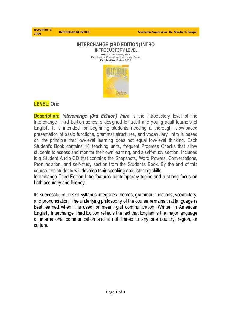 Workbooks interchange fourth edition online workbook : Book Intro Description