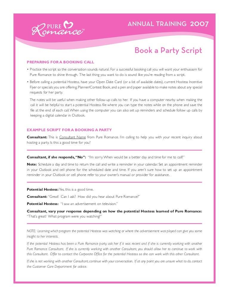 Book party script – Pure Romance Party Invitation