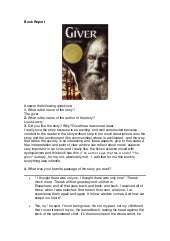 "Book report ""THE GIVER"""