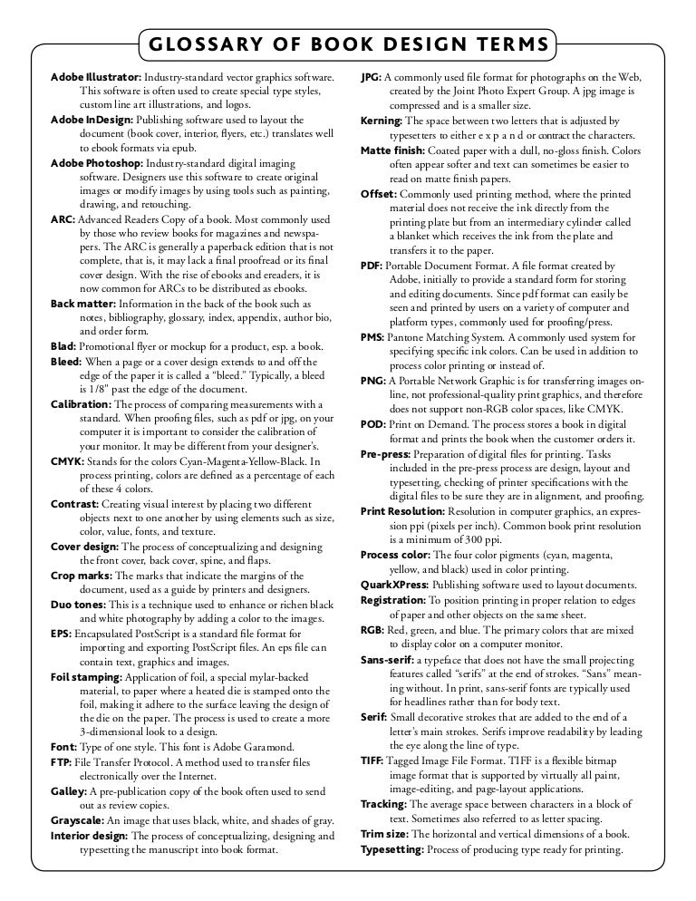 Book Wise Design Glossary 2015